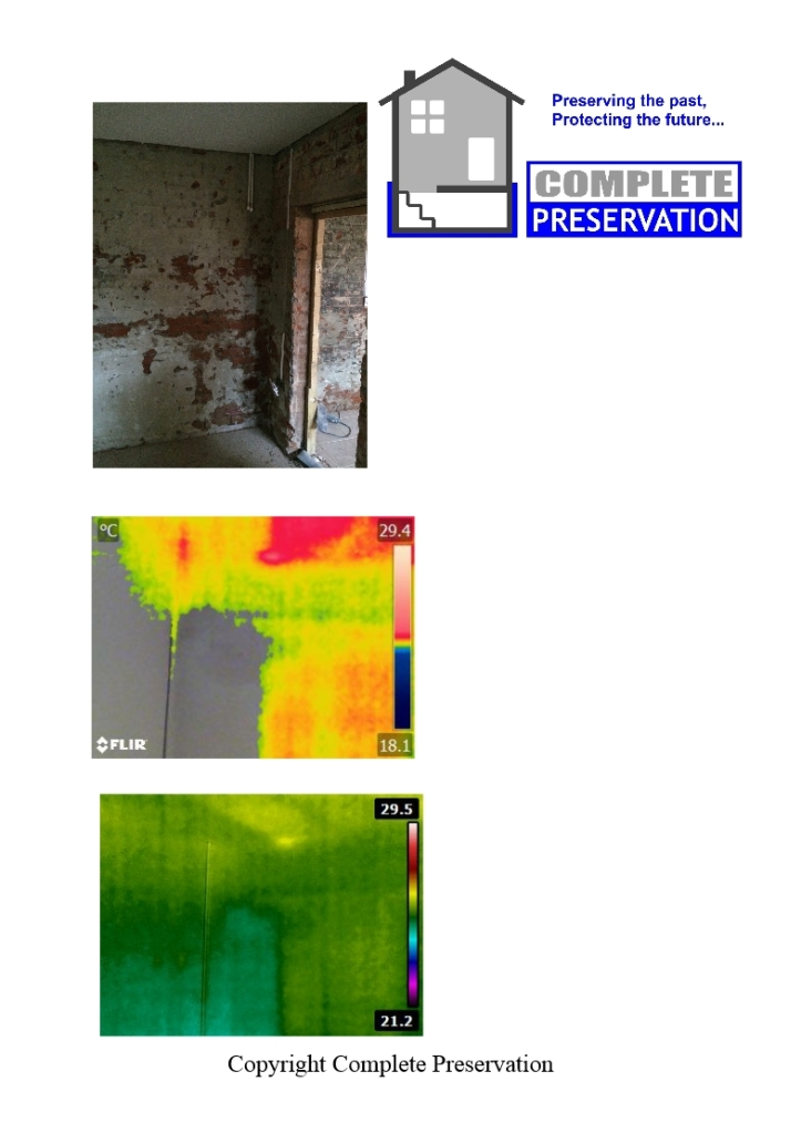 Thermal images of rising damp