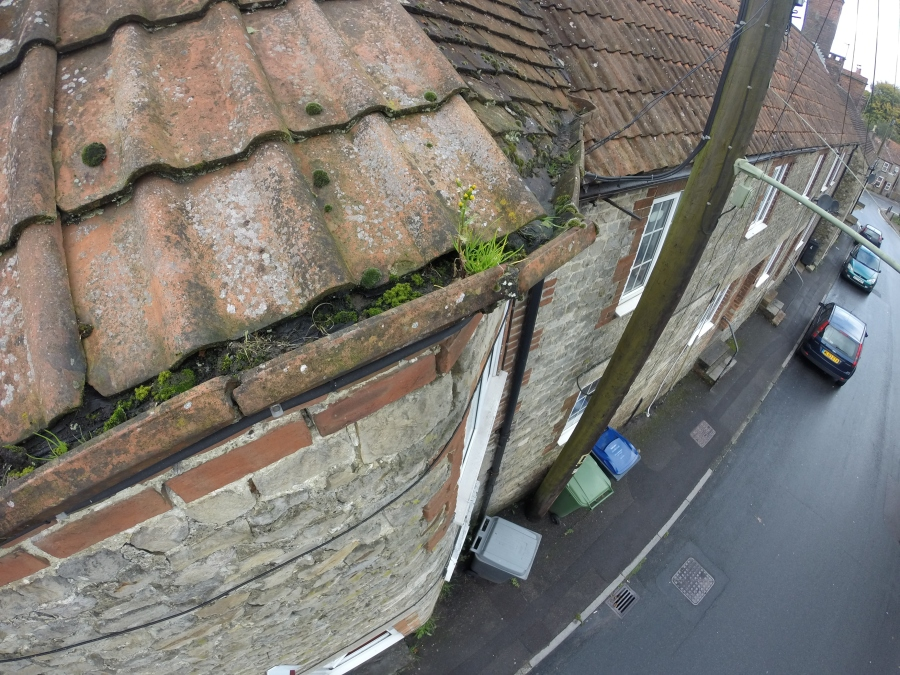 Blocked guttering was the cause of the penetrating dampness issue to this property in Warminster Wiltshire, this was picked up on a pre purchase survey.