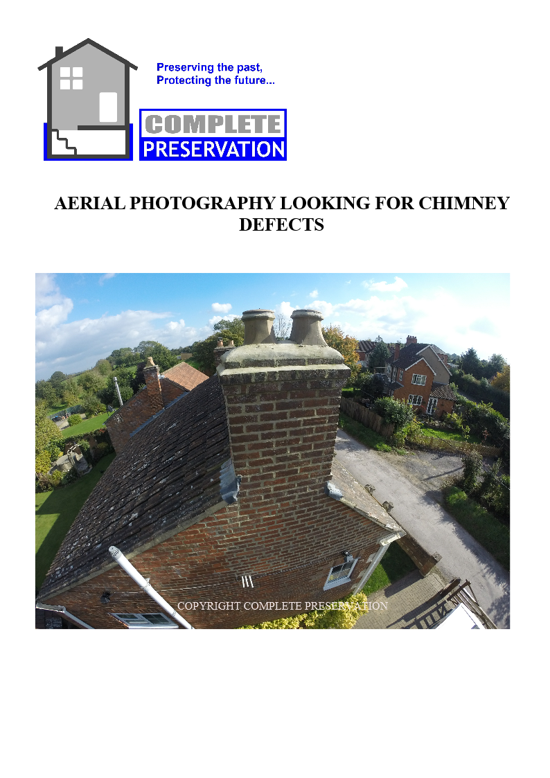 AERIAL PHOTO OF CHIMNEY, THE DAMP PATCH -STAIN ON THE CHIMNEY BREAST