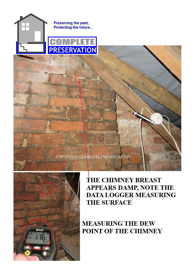 MEASURING THE DEW POINT OF THE CHIMNEY, THE DAMP PATCH -STAIN ON THE CHIMNEY BREAST
